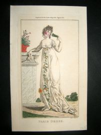 Lady's Magazine 1801 H/Col Regency Fashion Print. Paris Dress 08